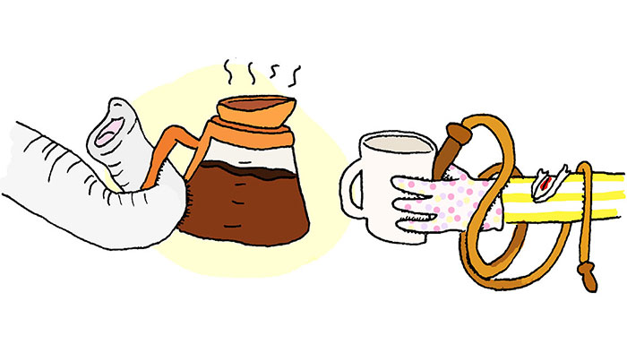 A cartoon of an elephant trunk pouring a cup of coffee for its trainer