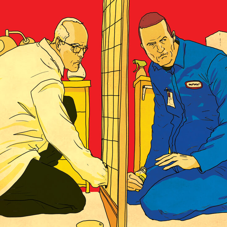 An illustration of an athlete receiving a contraband bottle of clean urine from another man through a hole in a wall.