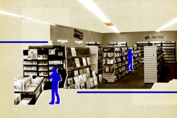 An image of inside a Blockbuster Video store with two blue silhouette figures standing the the aisles looking for videos.