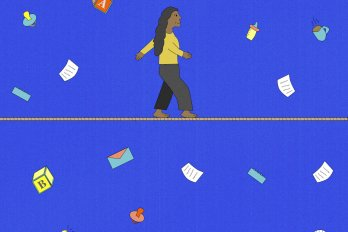Illustration of a woman walking across a tightrope against a royal blue background. Swirling in the air around her are various objects showing the collision of work and parenting life––paperwork, children's alphabetical building blocks, a cup of coffee, a bottle, and envelopes.