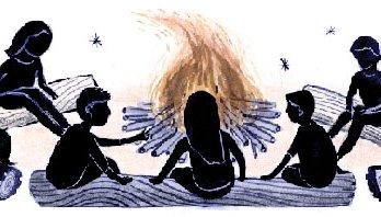 A group children sitting around a campfire