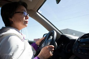Nunavut premier Eva Aariak drives to her family camp in Sylvia Grinnell Territorial Park.