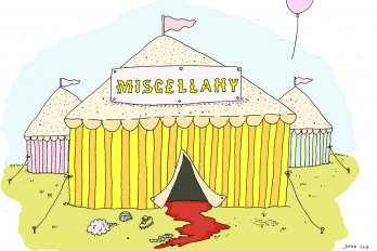 "A circus tent with the banner saying ""Miscellany"""