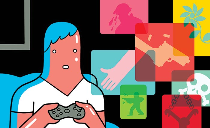 Person holding a video game controller, starring at a screen