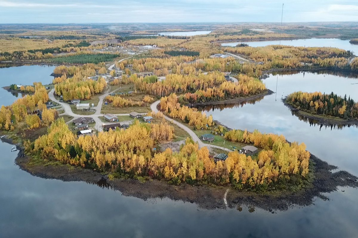 Northern Canada peninsula with a collection of roads and houses scattering the land.
