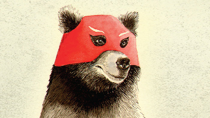 Illustration of a bear wearing a red mask