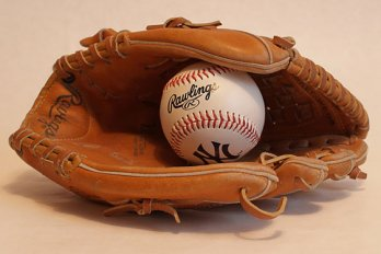 Baseball in a baseball glove