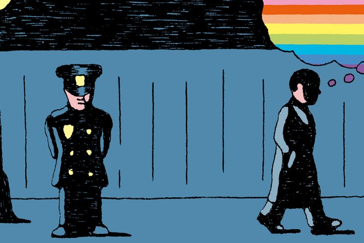 Cartoon of a policeman standing on the left, and a man walking on the right. The man on the right has a think bubble coming out of him that is in rainbow