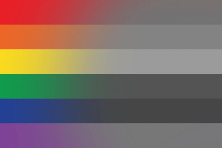 LGBT Flag fading into colourless shades