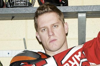 Hockey player in a locker room