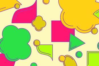 Banner illustration for Teen Walrus project featuring different yellow, pink and green shapes scattered on a lighter yellow background.