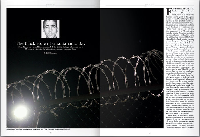 """A magazine layout from The Walrus magazine with the image of barbed wire in the front and a small picture of Omar Khadr with the text """"The Black Hole of Guantanamo Bay"""" written below it."""