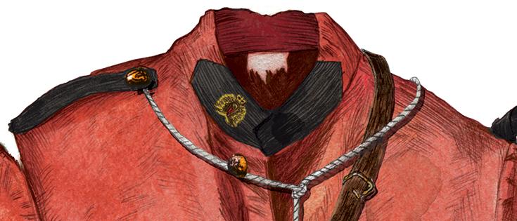 Top half of a red police uniform