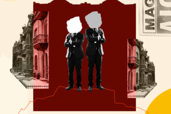 """Collage of faceless men in suits agains """"A Louer"""" signs and buildings."""