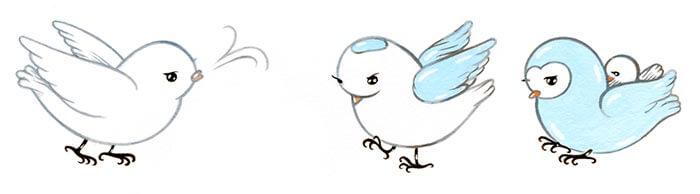 Illustration of three birds